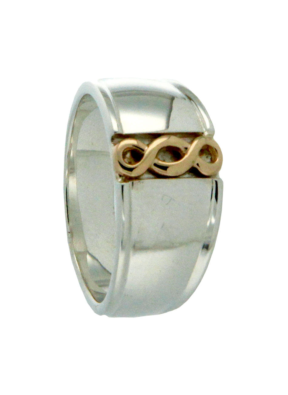 Infinity knot Ring - Sterling Silver and 10k Yellow Gold