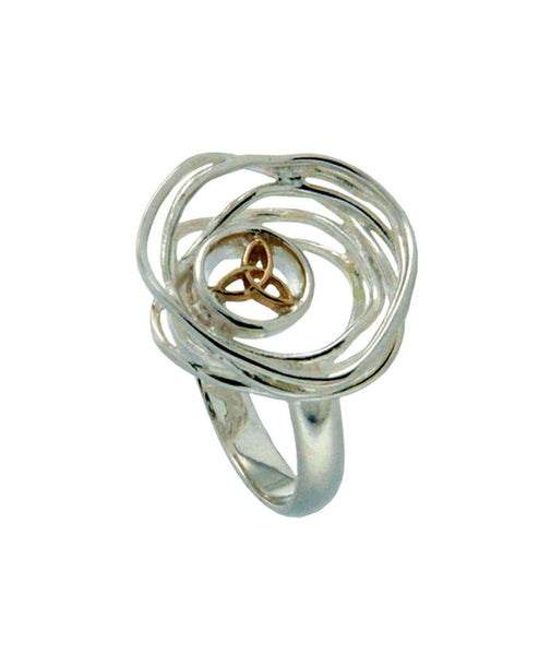 Celtic Cradle of Life Ring - Sterling Silver + 10k Gold