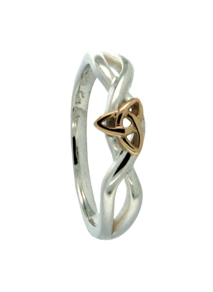 Trinity Knot Ring Sterling Silver and 10k Gold