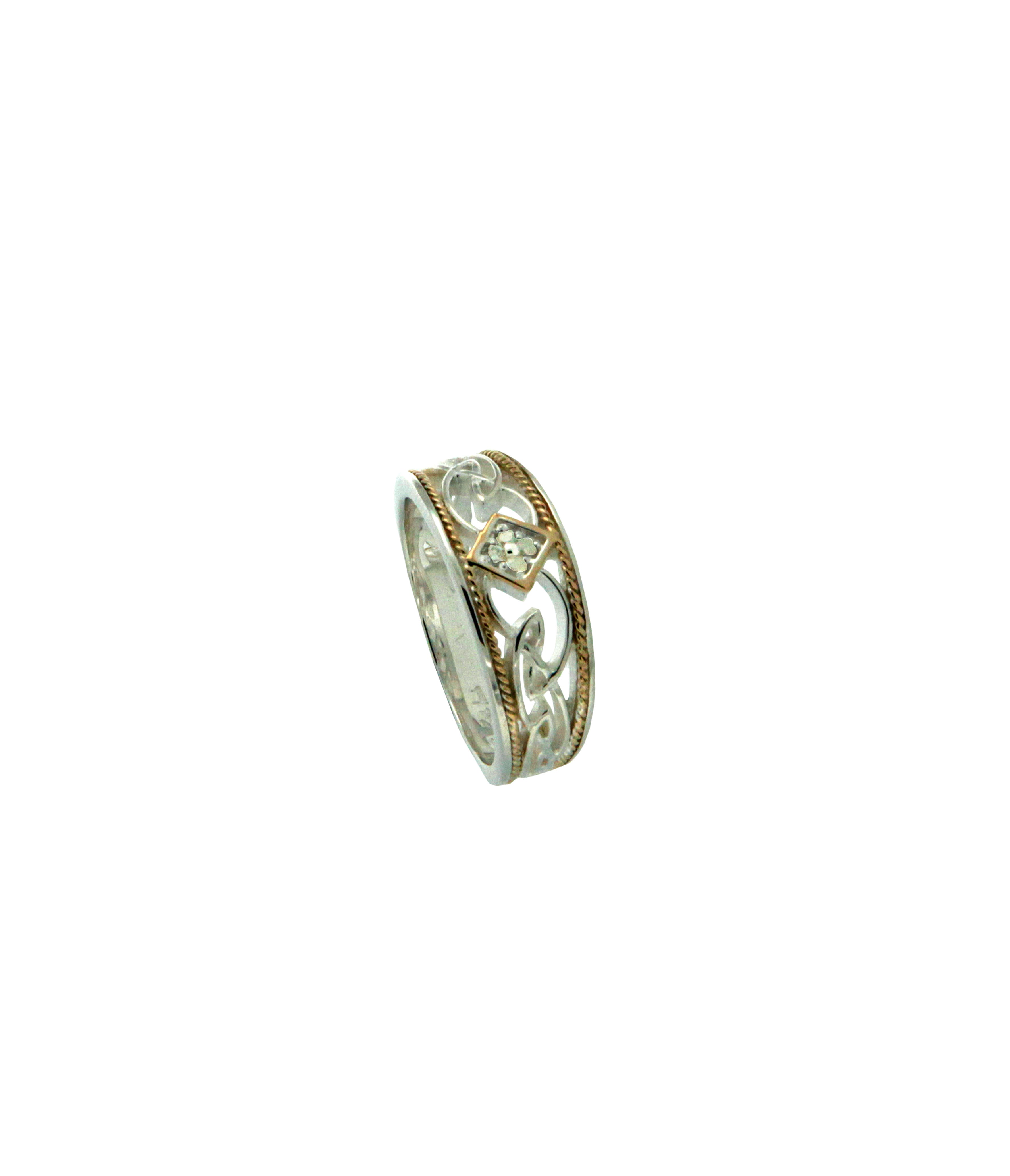 Rosail Ring - Sterling Silver + 10k Gold + Diamonds
