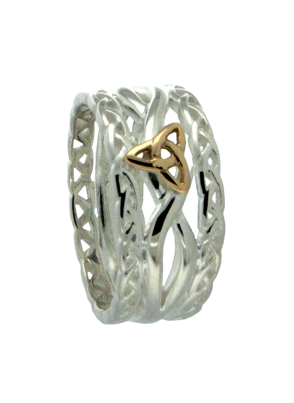 Trinity and Tulla Ring Sterling Silver and 10k Gold