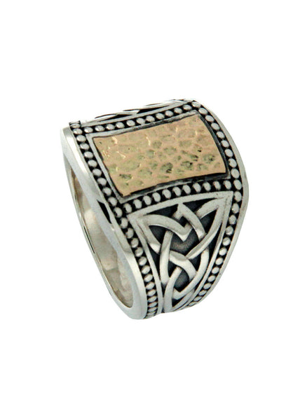 Large Hammered Celtic Signet Ring