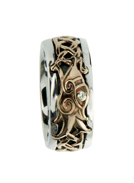 Norse Forge Dragon Ring Sterling Silver and 10k