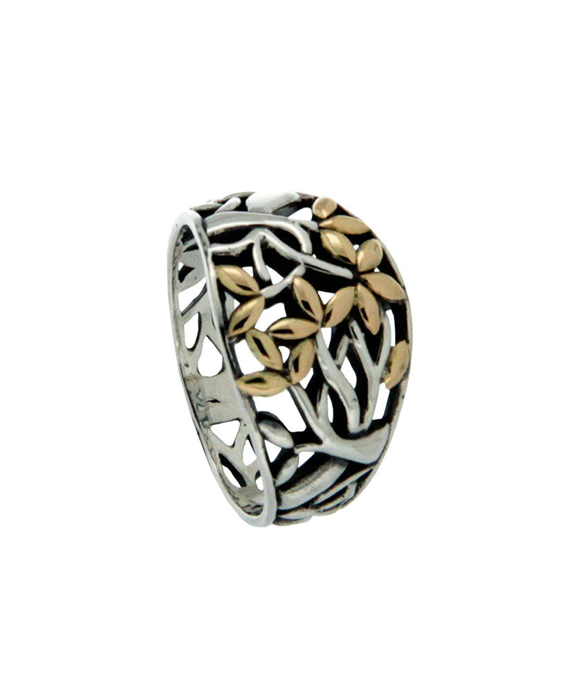 Tree of Life Ring Sterling Silver with 10k