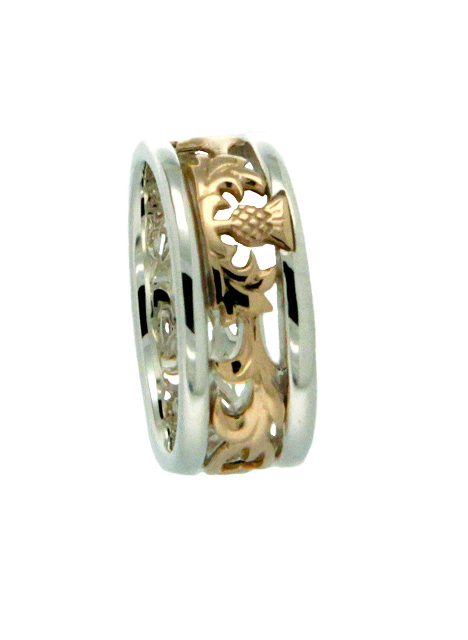 Scottish Thistle Band Ring 14k - 2 Tone