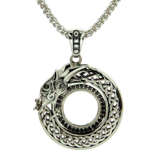 Norse Forge Dragon Pendant - Black Cubic Zirconia