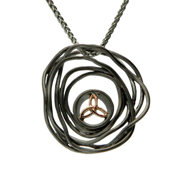 Celtic Cradle of Life Pendant - Ruthenium and Rose Gold