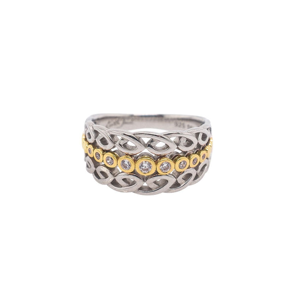 Bridge Ring - Sterling Sliver with 10k Yellow Gold