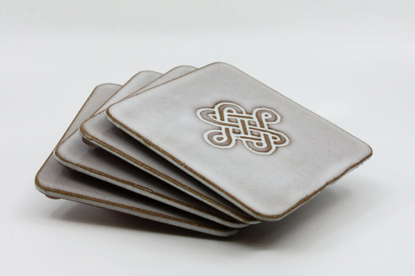Island Stoneware Square Drink Coaster Set
