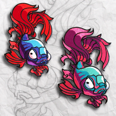 Grumpy Betta Fish Set Embroidery Morale Patch