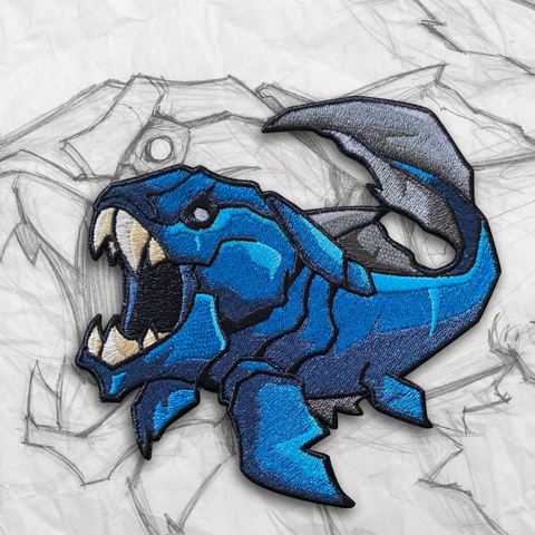Grumpy Dunkleosteus Fish, Deep Blue Embroidery Patch