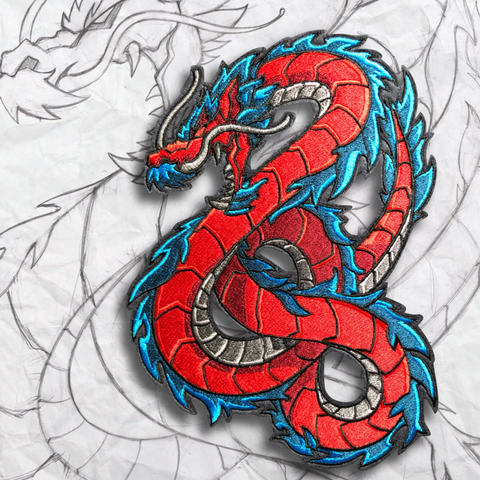 Crimson Dragon Embroidery Morale Patch