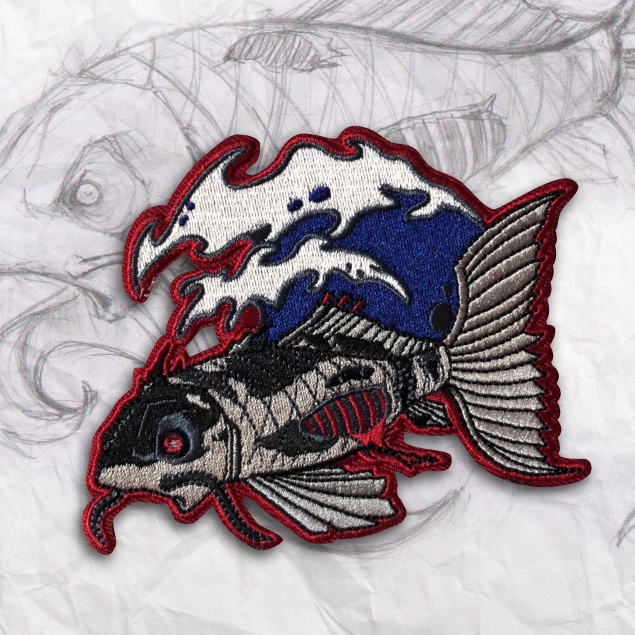 Dark Koi Embroidery Morale Patch