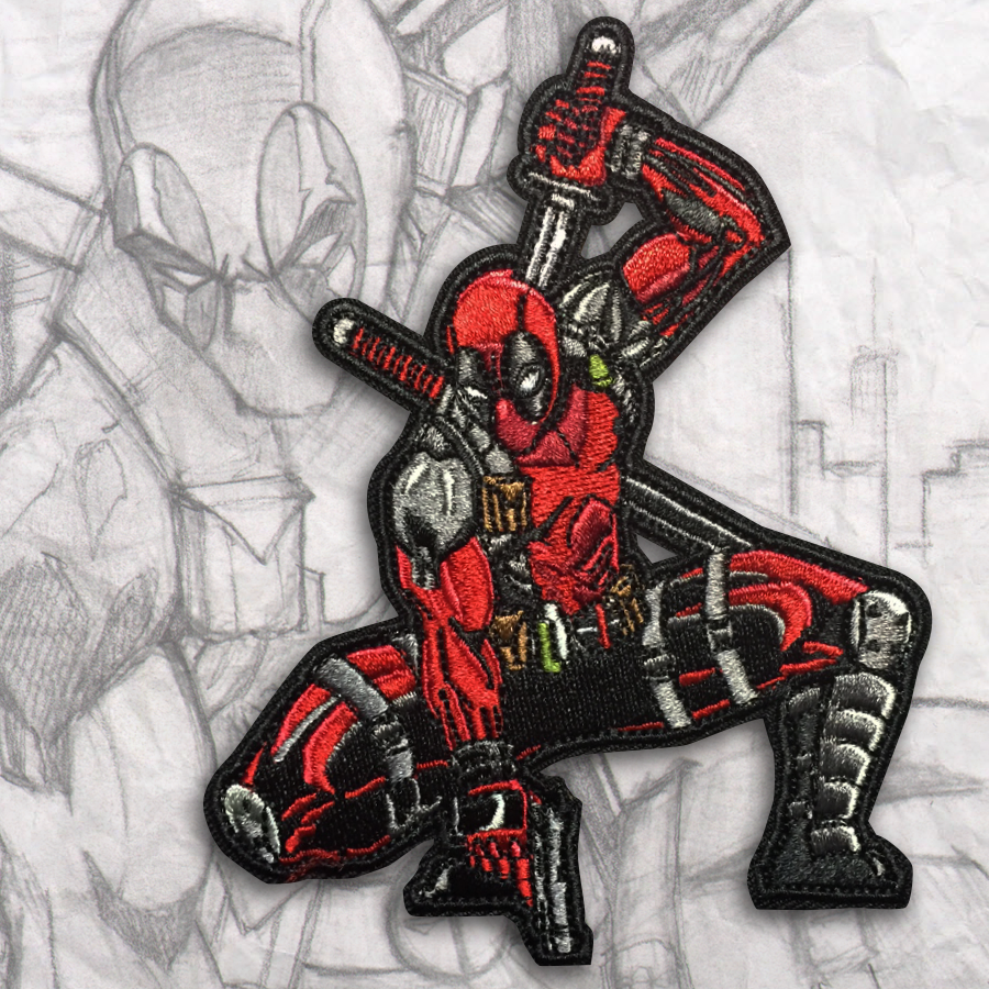Deadpool Action Pose Embroidery Morale Patch Grumpy Pencil
