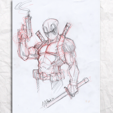 Deadpool Sketch Original Artwork