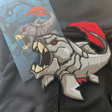 Grumpy Dunkleosteus Fish Embroidery Patch