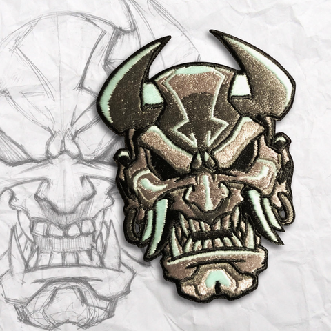 Glow Devil Oni Mask Embroidery Morale Patch