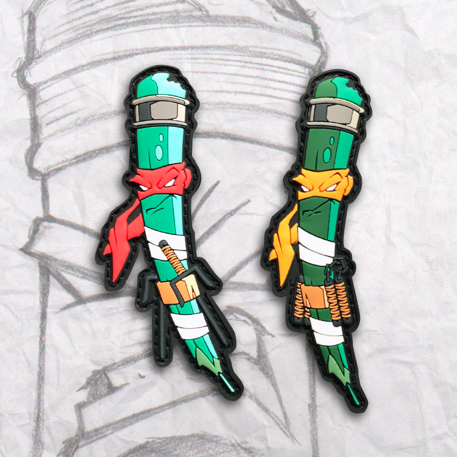 Grumpy Ninja Turtle Pencils PVC Patch set 2