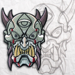 Ogre Oni Mask Embroidery Patch