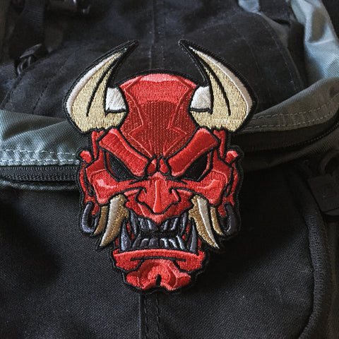 Devil Oni Mask Embroidery Morale Patch