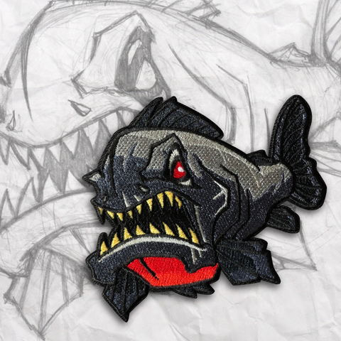Grumpy Piranha Embroidery Morale Patch