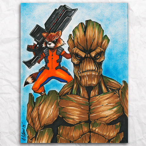 Rocket and Groot Original Artwork