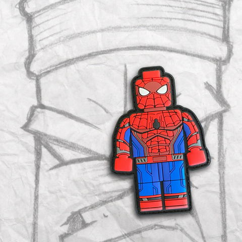 Grumpy Brick fig Spider-Man PVC Patch