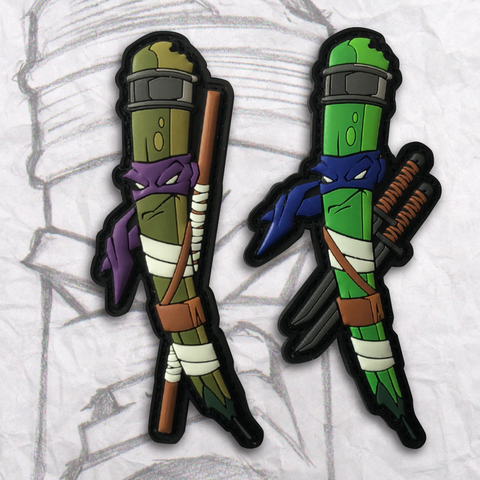 Grumpy Ninja Turtle Pencils PVC Patch set 1