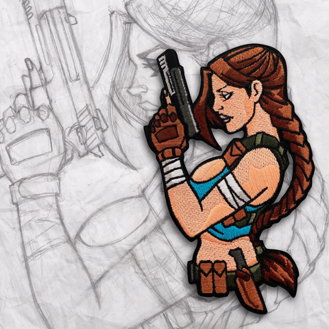 Grumpy Tomb Raider Embroidery Patch