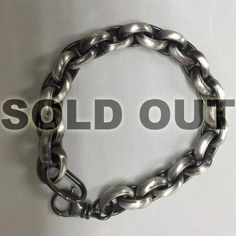 """Black Silver"" Heavy Rolo Chain with Satin Finish"