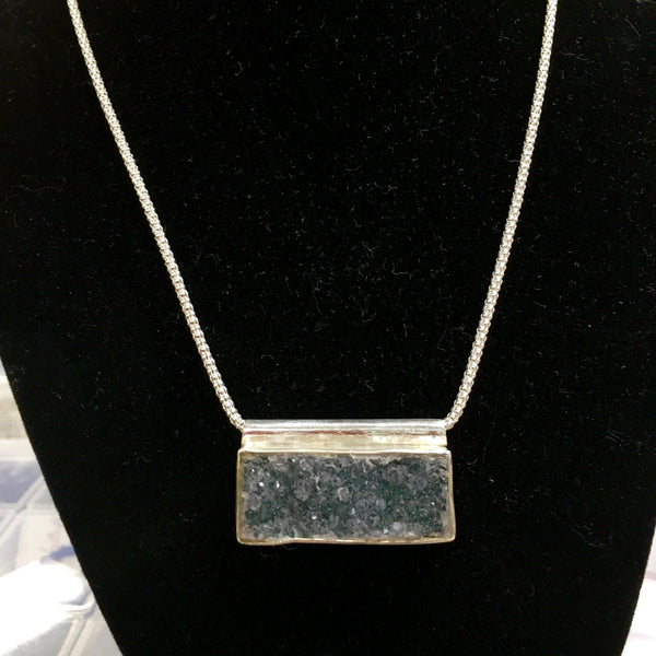 Natural Green Druzy Pendant