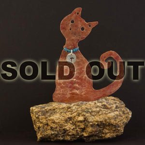 Copper Cat Paperweight
