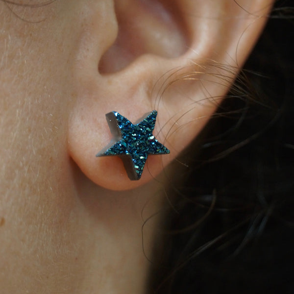 Beautiful Alexandrite Druzy Star Stud Earrings by Shy-Fox.com