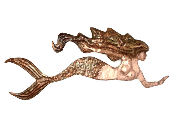Hand Forged Copper Mermaid
