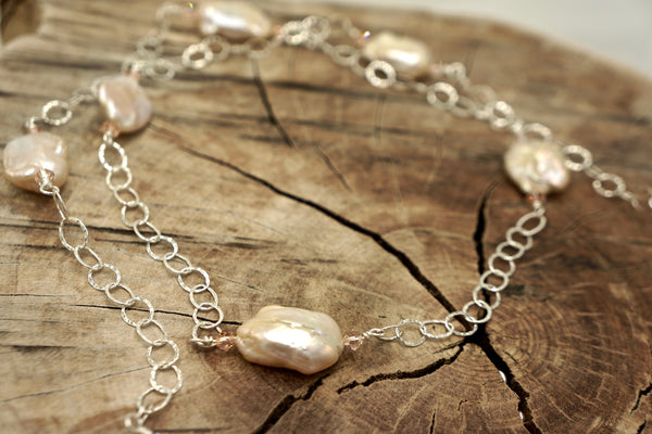 Beautiful Baroque Pearl and Silver Chain Necklace