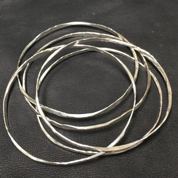 Sterling Hammered Bangles set of 3