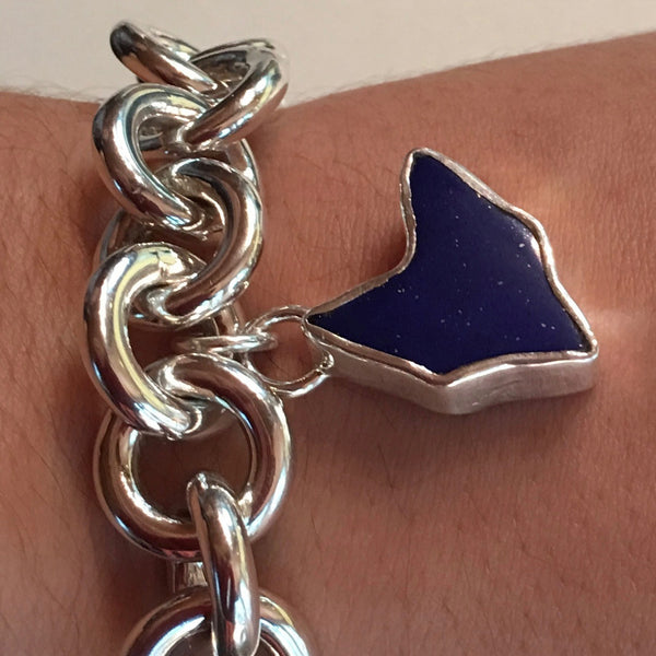 Chunky Sterling Silver Link Bracelet with Shy-Fox Gem Lapis Charm