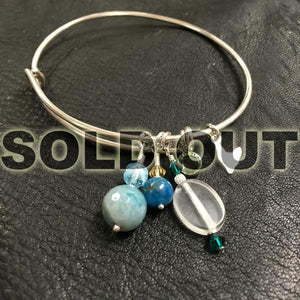 Sterling Silver Adjustable Bangle with Charms