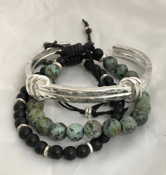 African Turquoise and Fine Silver Bead Adjustable Bracelet