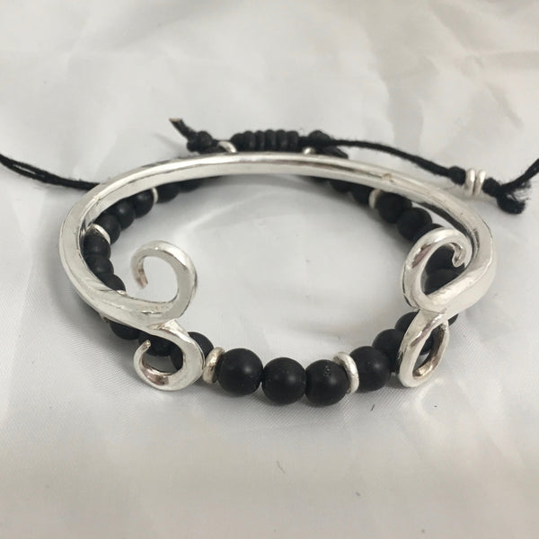Black Onyx and Fine Silver Bead Adjustable Bracelet