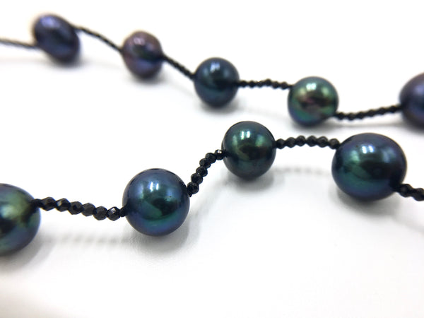 Peacock Blue Pearl Necklace