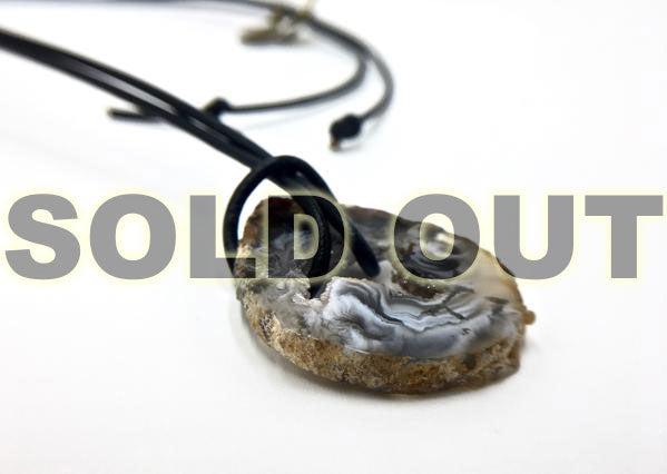 Natural Geode Slice on Leather Cord