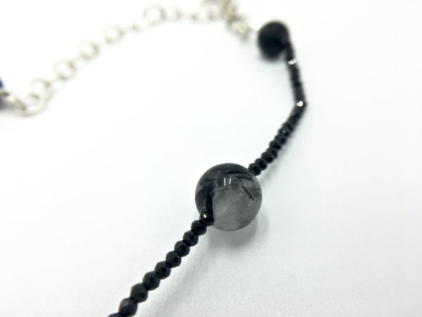Tourmalinated Quartz and Black Spinel Choker