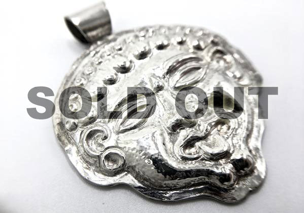Repousse Gorgoneion Pendant with Handmade Fine Silver Chain