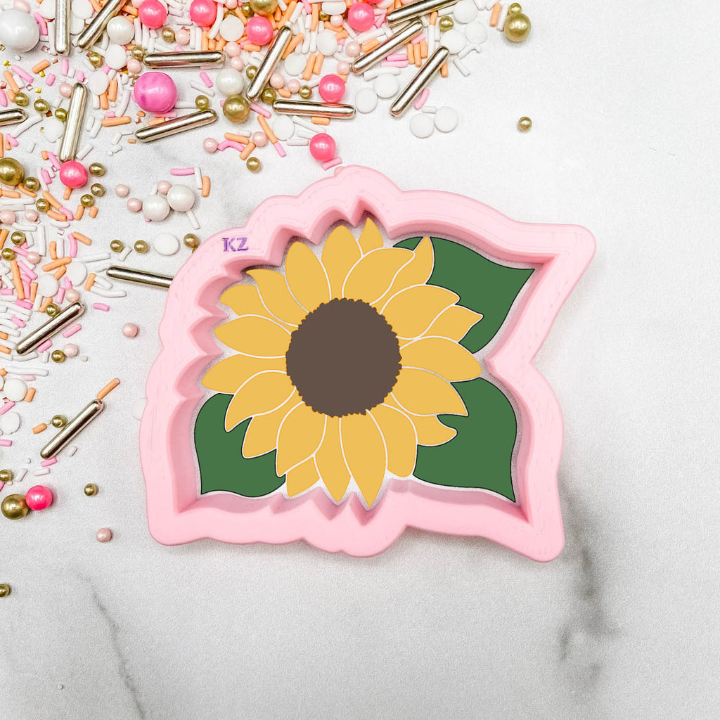 Sunflower with Leaves Cutter/Stencil