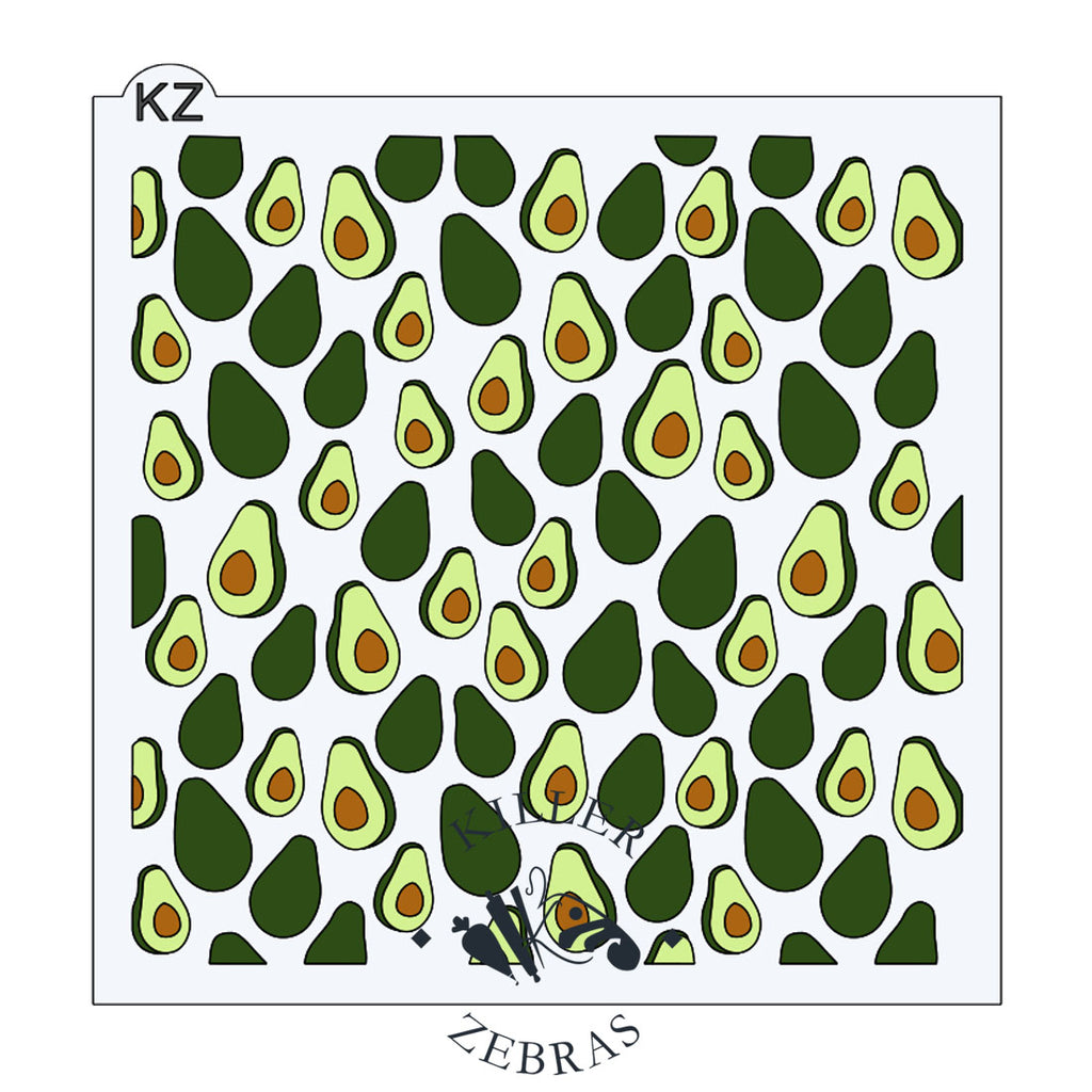 Large, square stencil with whole and half avocados filling square. Dark and light green with brown pits.
