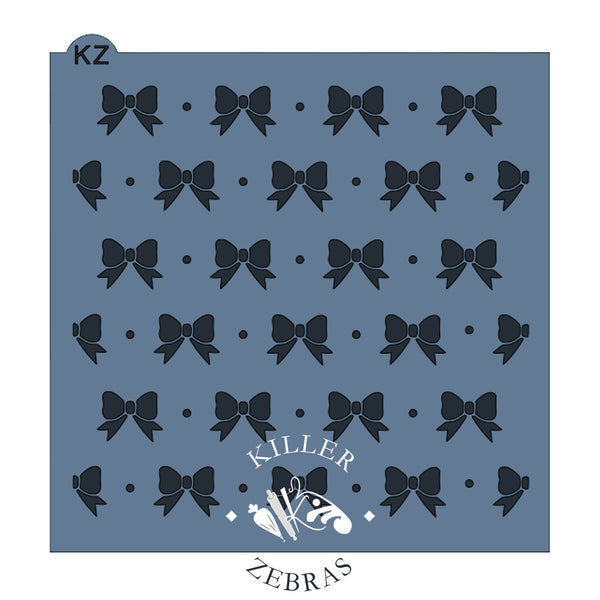 Large, square stencil with ribbon bows laid out in neat rows. One small dot between each bow.