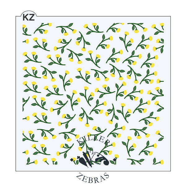 Large, square stencil with small branches of yellow buttercup flowers and green stems filling the square.