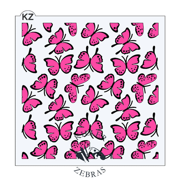 Large, square stencil with different hot pink and black butterflies filling the square.