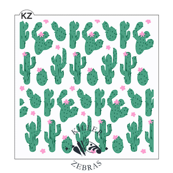Large, square stencil with different shaped green cacti and light pink flowers on and off the cacti, filling the square.